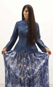 Linen_indigo_jacket_and_silk_skirt_hand-printed_with_natural_pigments._Designed_by_Ilana_Efrati_2013